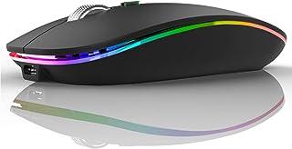 U12 Ratón Inalámbrico Recargable, Ultra Delgado Receptor Nano Wireless Mouse 1600 dpi Ajustables Silencioso Mini Mouse Mul...