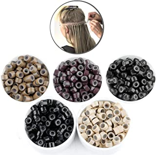 2500pcs Hair Extentions Micro Rings Links Beads, 5mm Silicone Lined Beads for Human Hair Extensions Tool