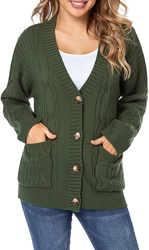 Fuinloth Women's Cardigan Sweater, Oversized Chunky Knit Button Closure with Pockets