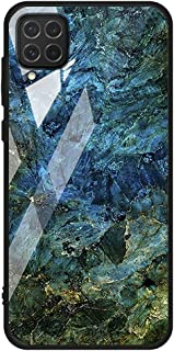 For Samsung Galaxy A12 / M12 Case marble pattern tempered glass Back cover (Blue & Green)