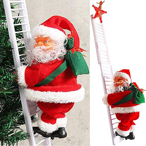JPYH Santa Claus Climbing Ladders, Electric Santa Claus Toys, Christmas Music Decoration Gifts, Santa Claus Climbing With Burlap Bags, Christmas Indoor and Outdoor Decorations, and Own Batteries