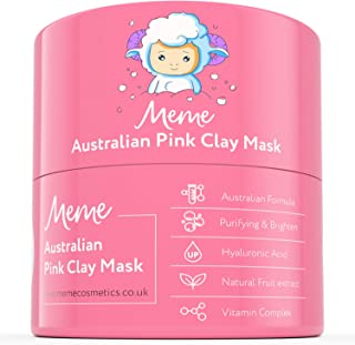 MeMe Australian Pink Clay Face Mask | Korean Skin Care, 100% Natural Kaolin Clay | Acne Recovery, Blackhead Deep Pore Cleanse, Purify & Brighten your Skin | Vitamin C & Hyaluronic acid 4.23Oz