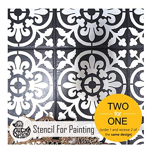 VALENCIA Tile Furniture Wall Floor Stencil for Painting - Large