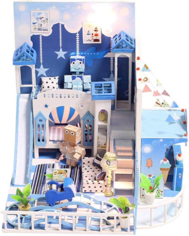 CUOOU Kit di mobili per la casa delle Bambole in Legno Giocattoli Fatti a uomoo Kit modellolo in Miniatura Kit di Giocattoli per Bambole Regalo per Bambini