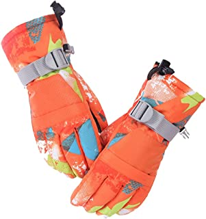 LingGT Women's Fleece Lined Gloves Sport Outdoor Casual Mittens (Color : Orange, Size : L)