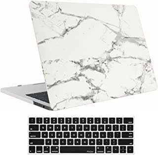 "ProCase MacBook Pro 15 Case 2019 2018 2017 2016 Release A1990/A1707, Hard Case Shell Cover and Keyboard Cover for Apple MacBook Pro 15"" (2019/2018/2017/2016) with Touch Bar and Touch ID -White Marble Pattern"
