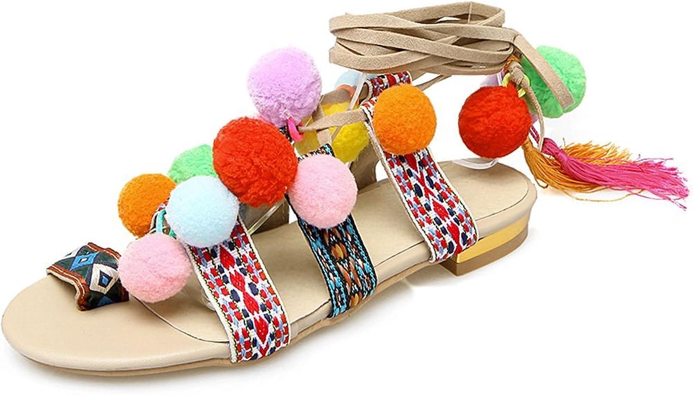 KingRover Women's Pom-Pom Tassel Open Toe Knee High Gladiator Flats Sandals
