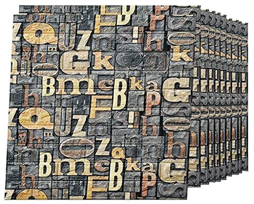 Paneles de Pared Autoadhesivos 3D, Papel de Pared Autoadhesivo con Efecto Texturizado de Ladrillo Imitación Vintage Para Sala de Estar, TV, Pared y Decoración Hogar C,30 pcs