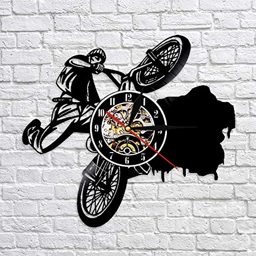 fdgdfgd Negro Retro CD Reloj Ciclismo BMX Reloj Deportivo Dirt Bike Track Frame Disco de Vinilo Reloj de Pared | Sorpresa Antes de Navidad