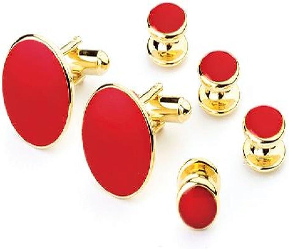 Red Tuxedo Studs and Cufflinks Set Gold Trim