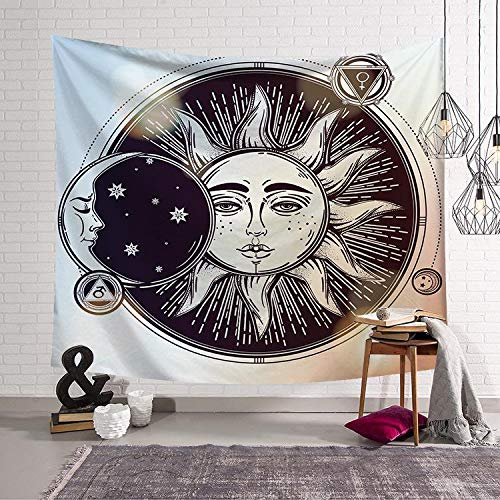 N / A Colorful tapestry psychedelic celestial Indian sun tapestry wall hanging throw bohemian curtain decoration background cloth tapestry A8 150x200cm