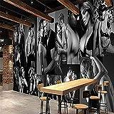 XHXI Papel tapiz mural 3D Papel tapiz 3D personalizado personalizado Negro Blanco Sexy Hombres Mujer Pared Pintado Papel tapiz 3D Decoración dormitorio Fotomural sala sofá pared mural-250cm×170cm