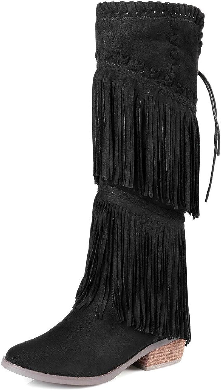 Nine Seven Suede Leather Women's Round Toe Block Heel Tassels Elegant Lace Up Handmade Dressy Knee High Boots