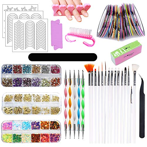 HEPAZ Nail Art Design Set Kit,83 Pezzi Nail Art Strass Kit,Unghie Strass Decorazione,Nail Chiodo Adesivo del Nastro della Striatura,Punteggiano Penna,Nail Art Tool Kit Manicure