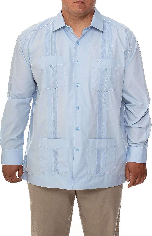 Manchester Men's Big and Tall Guayabera Shirt Long Sleeve