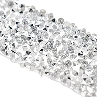 EORTA 1Yard X 3CM Rhinestone Beaded Trim Sparkling Crystal Rhinestone Hotfix Ribbon Iron on Applique Bling Chain Banding Belt for DIY Wedding Bridal Dress Embellishment Phone Wall Decor, Silver