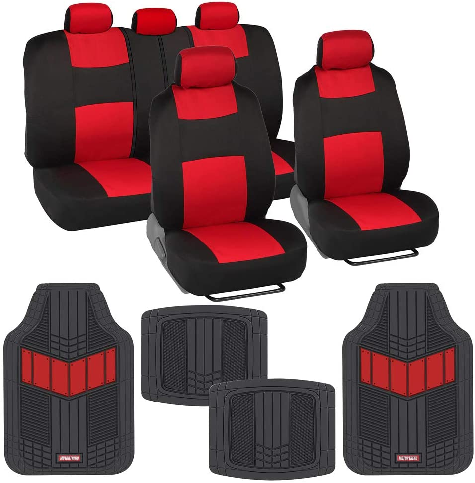 BDK Two-Tone PolyCloth Car Seat Covers Full Set Combo with Motor