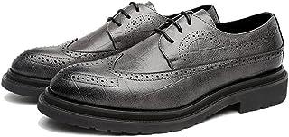 オックスフォードシューズ 革靴 メンズ フォーマル PUレザーシューズ クラシック レースアップ 通気 スクエアテクスチャ ビジネスシューズ (Color : グレー, サイズ : CN26)
