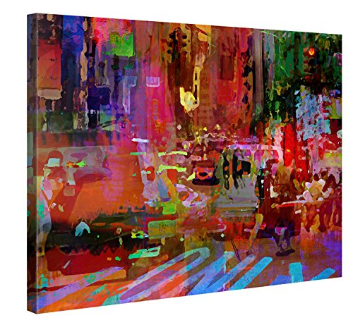 Big City Life - XXL Giclee Print, Canvas Wall Art Canvas Canvas Picture a picture stretched on a frame, Canvas imagen en alta definición, lona, rojo, 100 x 75 cm