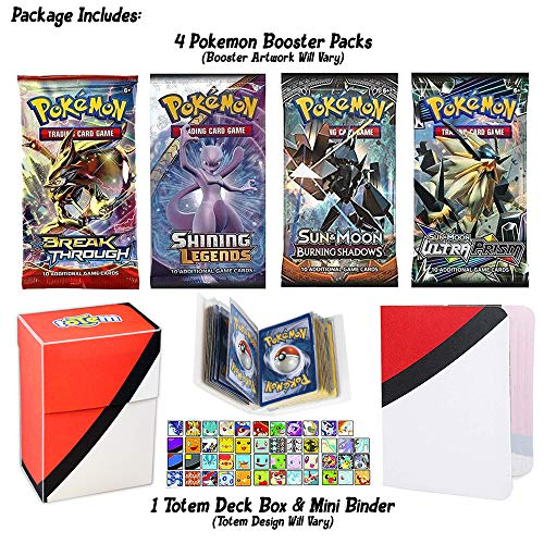 Totem World Premium Pokemon Booster Pack Collection - Deck Box and Random Card with Binder 4 Packs - Total 40 Sheets Pokemon Expansion Pack