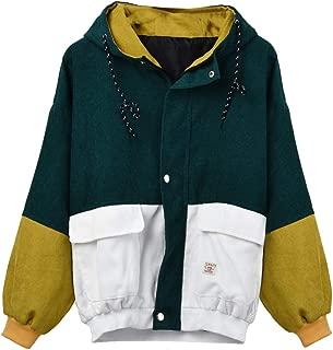 Loosebee◕‿◕ Women's Coat,Vintage Long Sleeve Hoodie Corduroy Patchwork Pockets Jacket Oversized Hooded Windbreaker Coat
