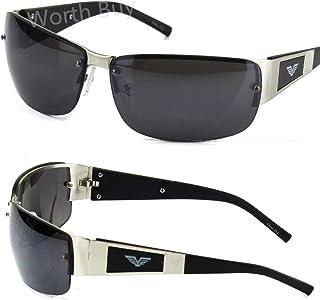 0b2bcfe5f1a Mens Rectangular Black Silver Sunglasses Shades Rimless Wrap Sport Golf  Designer