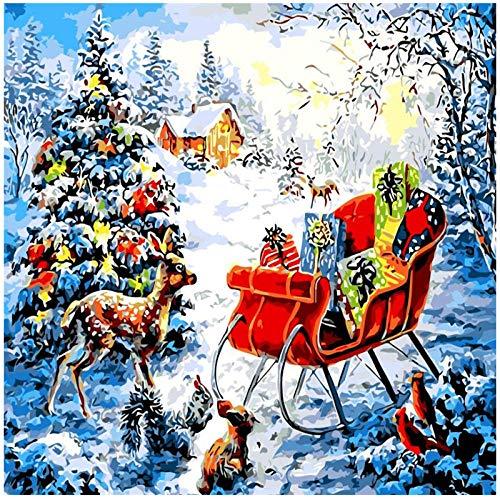 Kkooa Kerst Herten Slee Olieverfschilderij Van Nummers Voor Volwassenen Diy Abstracte Digitale Foto Kleuren Door Nummers Op Canvas Cadeau Home Decor 50X65Cm Geen Frame