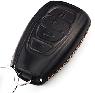 Cadtealir Calfskin Genuine Leather Key fob Cover case Holder Jacket Shell for Subaru Outback Legacy Forester Sti XV Crosstrek Impreza BRZ WRX