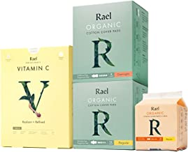 Rael Value Package - Certified Organic Cotton Regular Pads,Overnight Pads, Liners and Face Sheet Mask with Vitamin C (Rael...