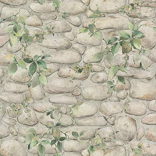 Stone Wallpaper with Ivy 834416   Stone Motif Beige Wallpapers   Kitchen Wallpaper 8344-16   with UK Delivery Now!