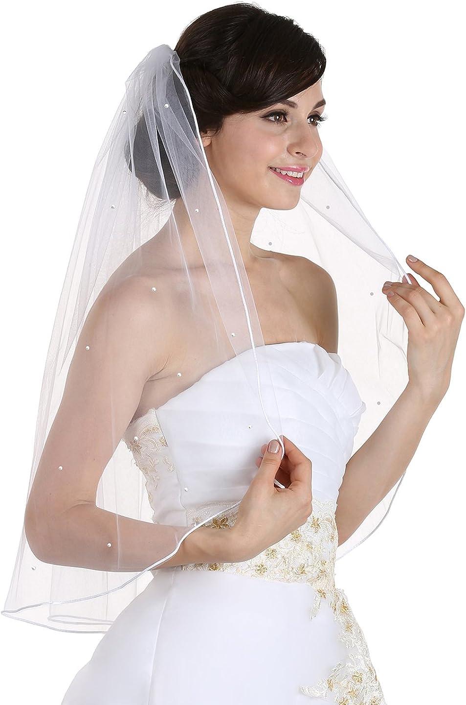 1T 1 Tier Scattered Rhinestone Rattail Edge Bridal Wedding Veil Elbow Length 30
