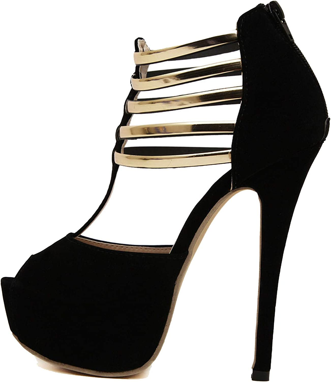 High-Heeled shoes Women's Suede Fish Mouth Fine with Metal Zipper Sexy Women's Sandals