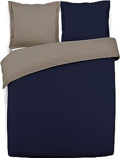 VISION Parure de couette 100% Coton bicolore réversible - 1 Housse de couette 220x240 cm + 2 Taies d'Oreillers MARINE / TAUPE