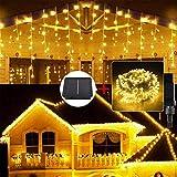 「つららライト リモコン付属」Gfxomall LEDイルミネーション ソーラーライト LED400球 長さ10m 屋外用 8点灯パターン 防水 ガーデンライト パーティーライト クリスマスライト 夜間自動点灯 大容量バッテリー 庭 ガーデン 植込み 玄関 (ウォームホワイト)