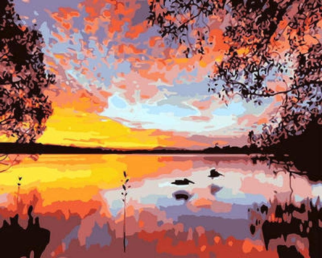 特派員気づくなる普通に油絵 数字キット 手塗り によるDIYデジタル絵画 子供初心者-湖の夕日 40*50CM(フレームレス)