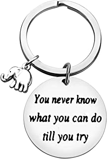 Inspirational Keychain Gifts You Never Know What You Can Do Till You Try Key Chain Inspirational Jewelry Gifts for Women E...