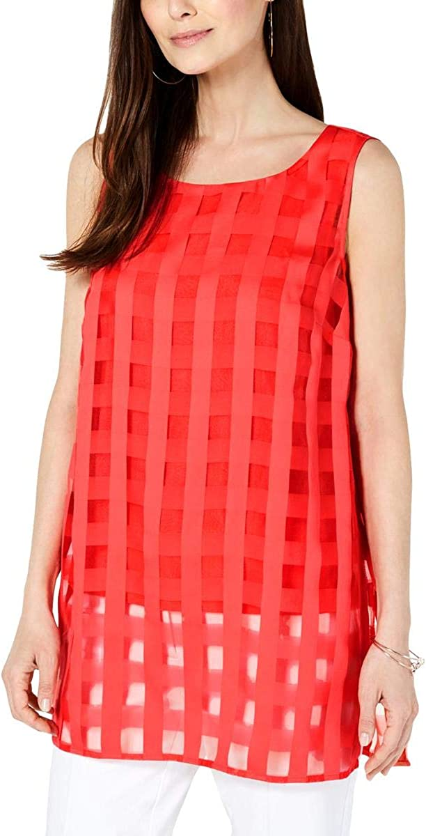 Alfani Womens Illusion Plaid Tunic Top