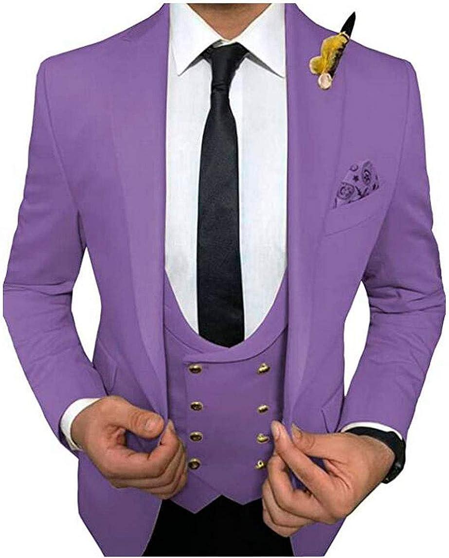 Men's Regular Fit Peak Lapel Wedding Suit Single Breastest Prom Tuxedos Jacket Vest Pants Casual Wear