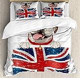 Ensemble de housse de couette Bulldog anglais 3 PCS, Happy Pet Bulldog tenant un...