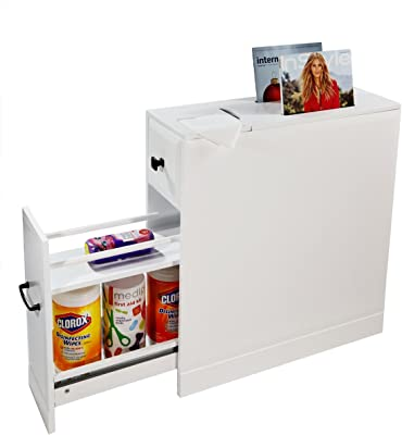 Clevr Bathroom Cabinet | Free Standing Cabinet with Slide-Out Drawers | Storage Shelves & Newspaper Magazine Holder | White