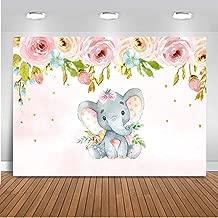 Mehofoto Elephant Baby Shower Backdrop Pink Elephant Floral Birthday Background 7x5ft Vinyl Baby Girls Baby Shower Birthday Party Banner Backdrops