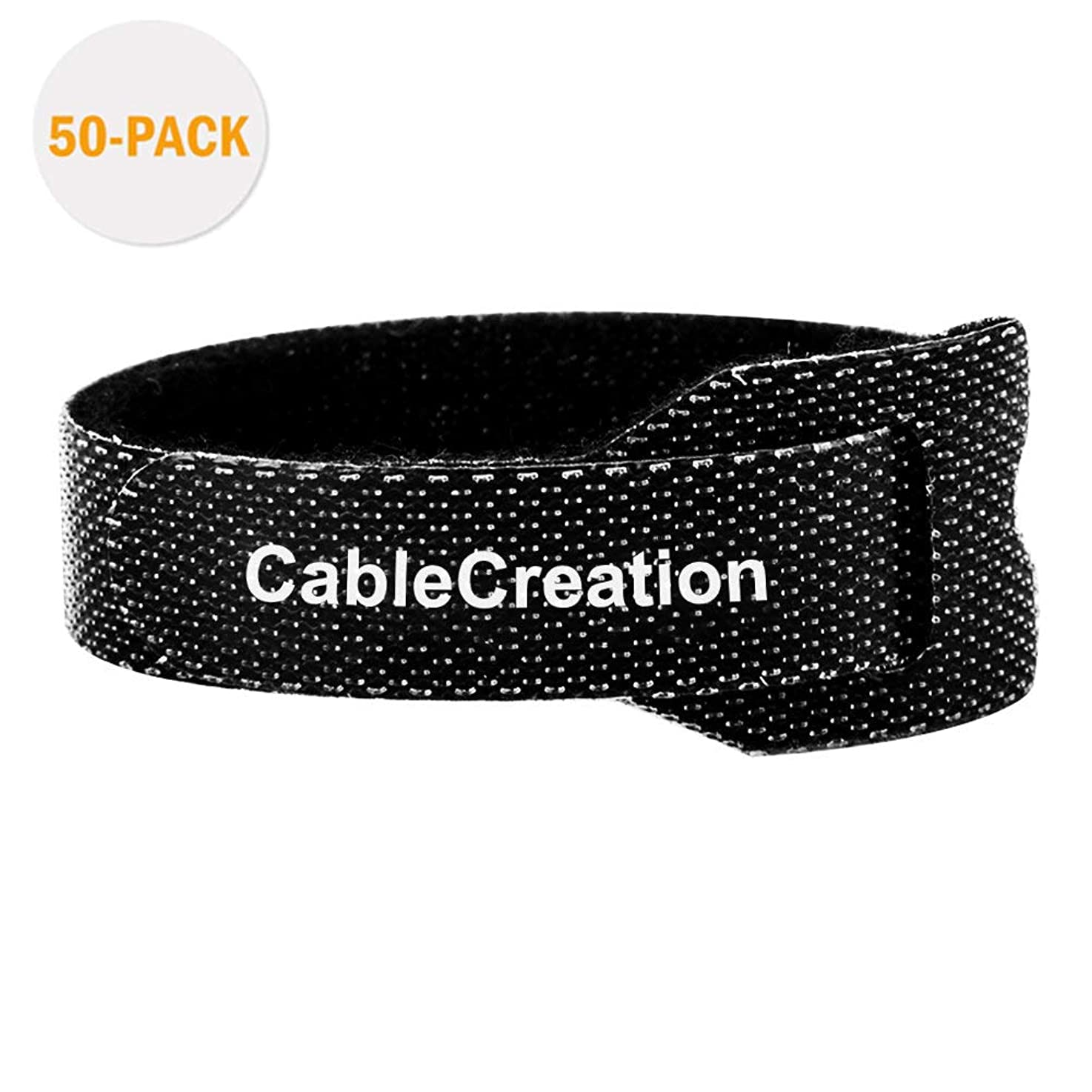 Cable Ties,CableCreation 50PCS Reusable Fastening Organizer Cord/Tie Wrap, Nylon Adjustable Cable Management, 6 inch/Black