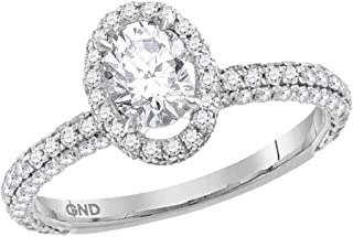 FB Jewels 14K White Gold Womens Oval Diamond Solitaire Bridal Wedding Engagement Ring 1-3/4 Cttw Size 7 (Primary Stone: I1...