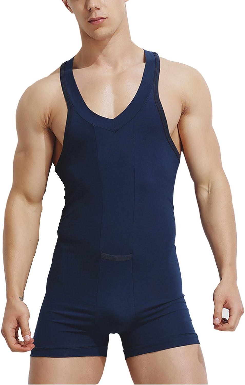 KAMUON Men's Sexy One Piece Cotton Bodysuit Underwear Leotards Onesie Shapewear