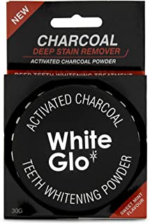 White Glo Activated Charcoal Teeth Whitening Powder, Highly Absobent to Clean Deep Stains and Discolouration, Fresh Mint F...