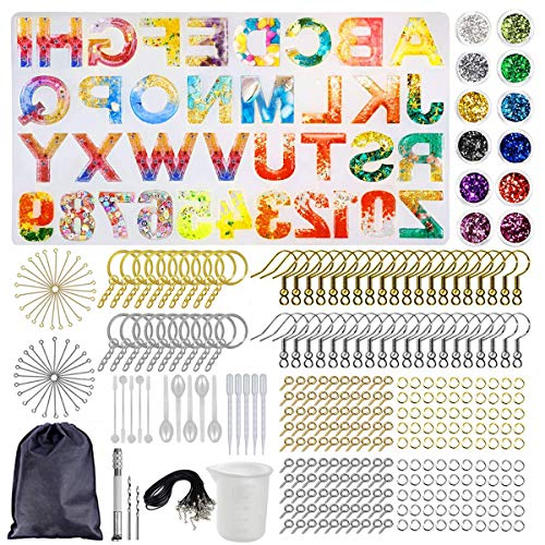 DIY Letter Silicone Molds, 353 Pcs Large Alphabet Jewelry Resin Casting Molds and Tools Set, Backward Number Moulds Kit for Jewellery Craft Keychain Pendants Earrings Making