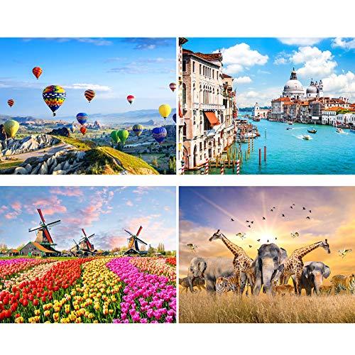 4 Sets 500 Stücke Jigsaw Puzzles Intellectual Landscape Puzzles Pädagogische Puzzles Umfassen Heißluftballon-, Tier-, Holländische Windmühlen- und Kanalpuzzles für Erwachsene, Jugendliche