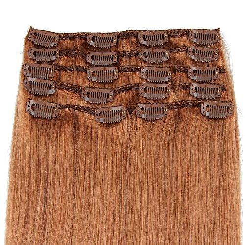 Beauty7 120g Extensions de Cheveux Humains à clip 100% Remy Hair #10 Couleur Marron Longueur 50 cm