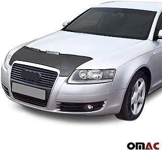 OMAC USA Front Hood Cover Mask Black Vinly Bonnet Bra (Half) Stoneguard Protector for Audi A6 C6 2005-2011