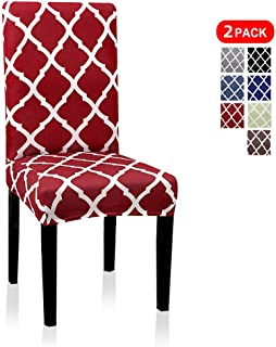 Dining Chair Covers, Geometric Print Dining Chair Slipcovers, Removable Washable Stretch Furniture Protector for Kitchen Room Hotel Table Banquet (2 Per Set, Wine Red)